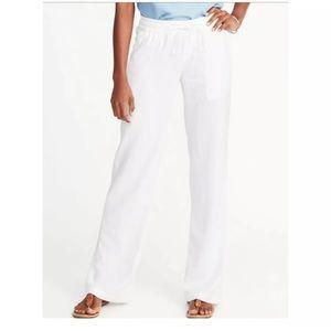 Old Navy White Linen Wide Leg Pants Sz Medium